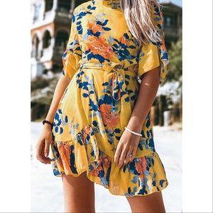 Cupshe Yellow Floral Print Ruffled Mini Dress